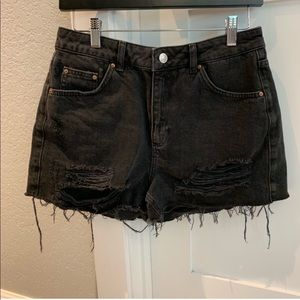Topshop black distressed mom jean shorts